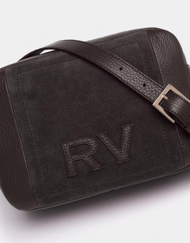 Brown leather and split leather Louvre shoulder bag