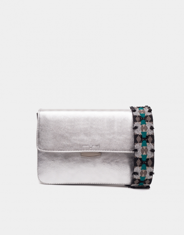 Silver Joyce bag with embroidered handle