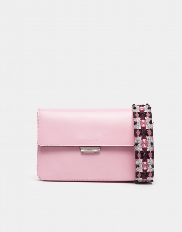 Pink Joyce bag with embroidered handle