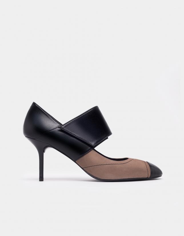 Zapato salón serraje y piel plata
