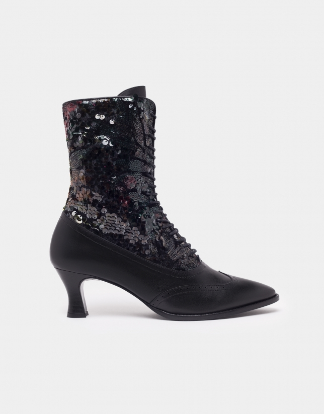 Black Brogue ankle boots with sequined heels
