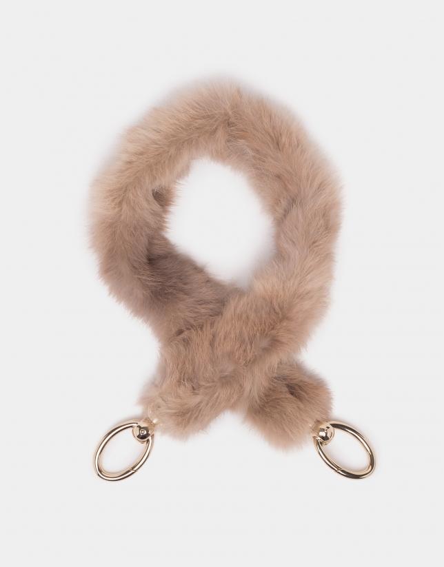 Natural fur and leather shoulder strap