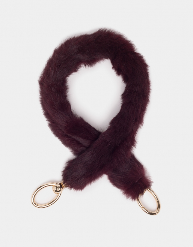 Burgundy fur and leather shoulder strap