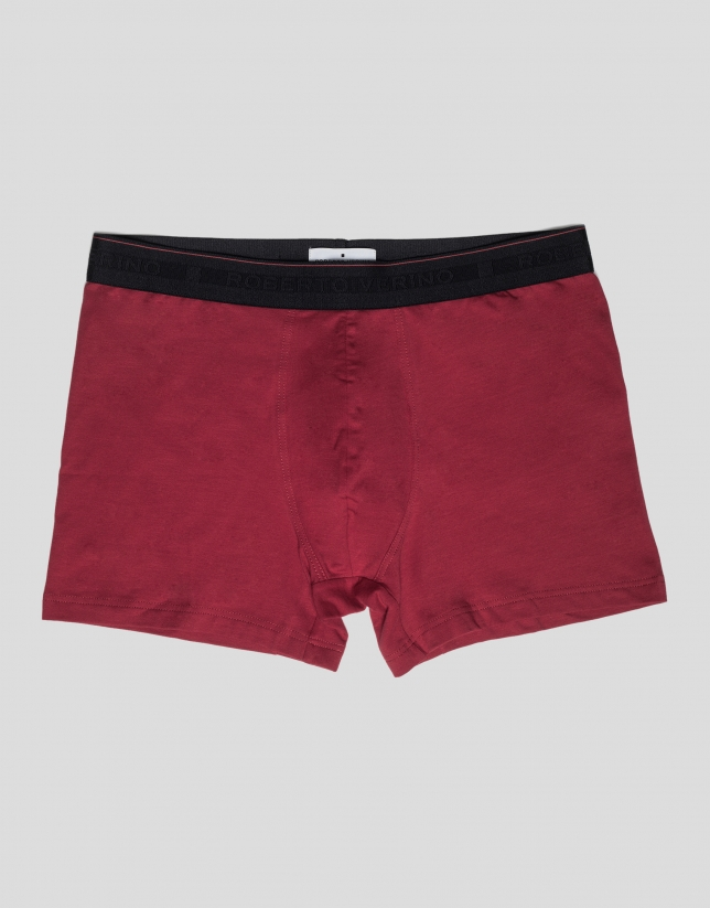 Plain red boxer shorts