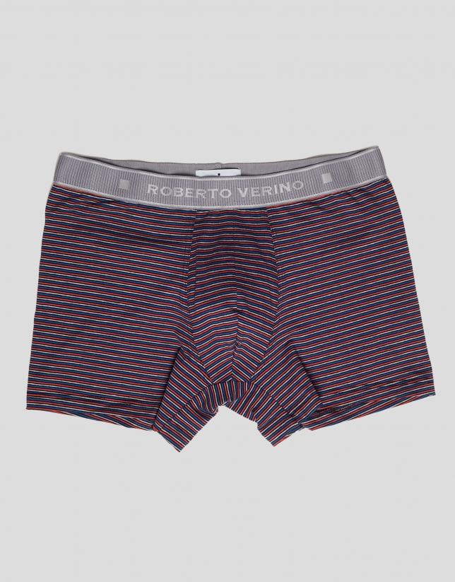 Multicolored striped boxer shorts