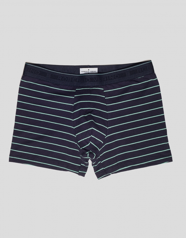 Navy blue and green striped boxer shorts
