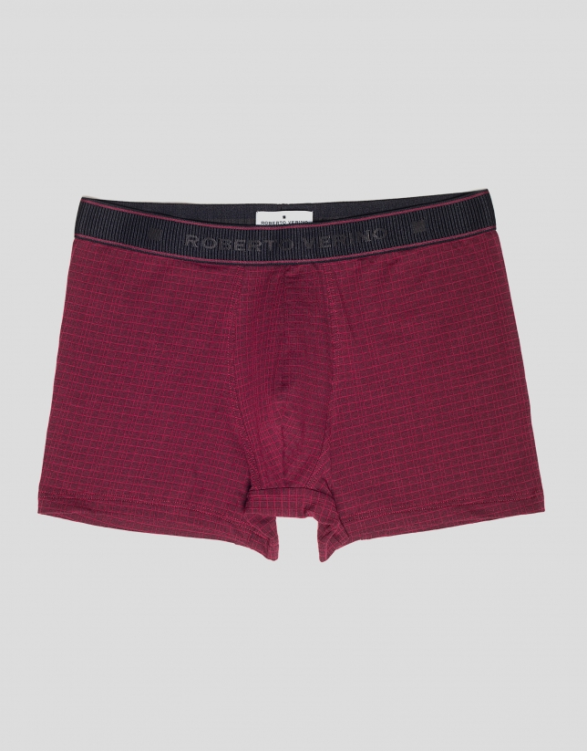 Burgundy checked boxer shorts