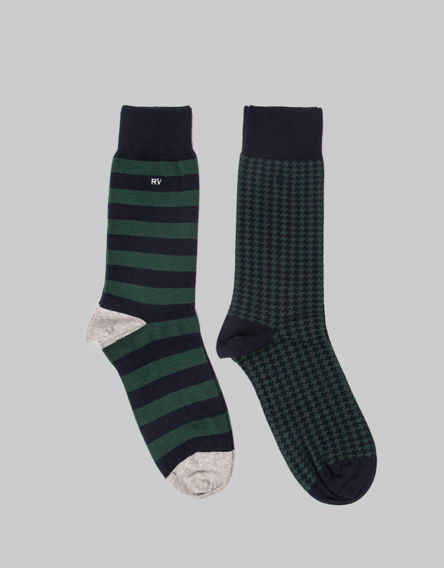 Package of navy blue and green socks