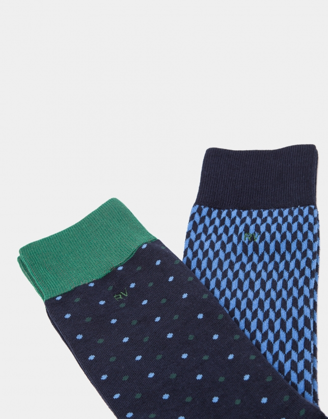 Package of blue and green socks