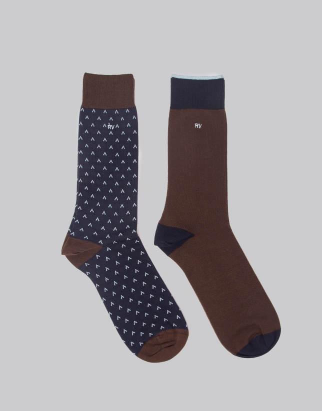 Package of brown and blue socks
