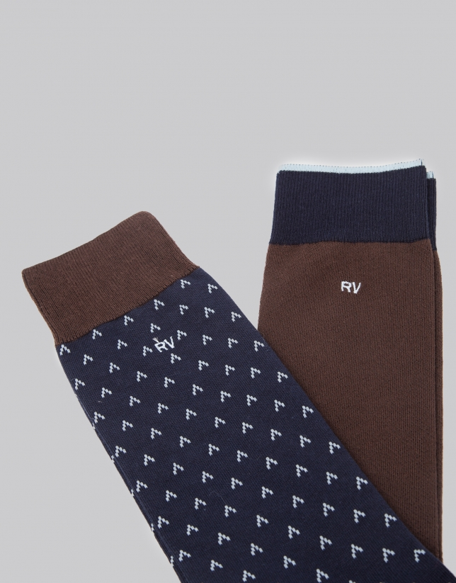 Package of brown and blue socks