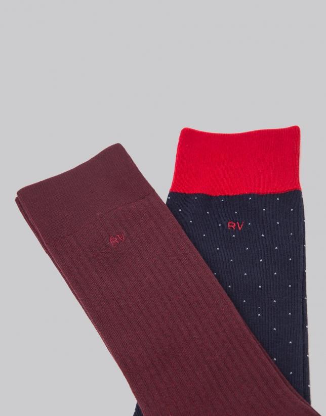 Pack calcetines azul/granate