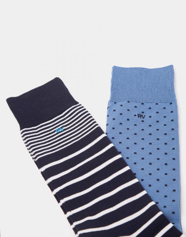 Pack calcetines azul con rayas y topos