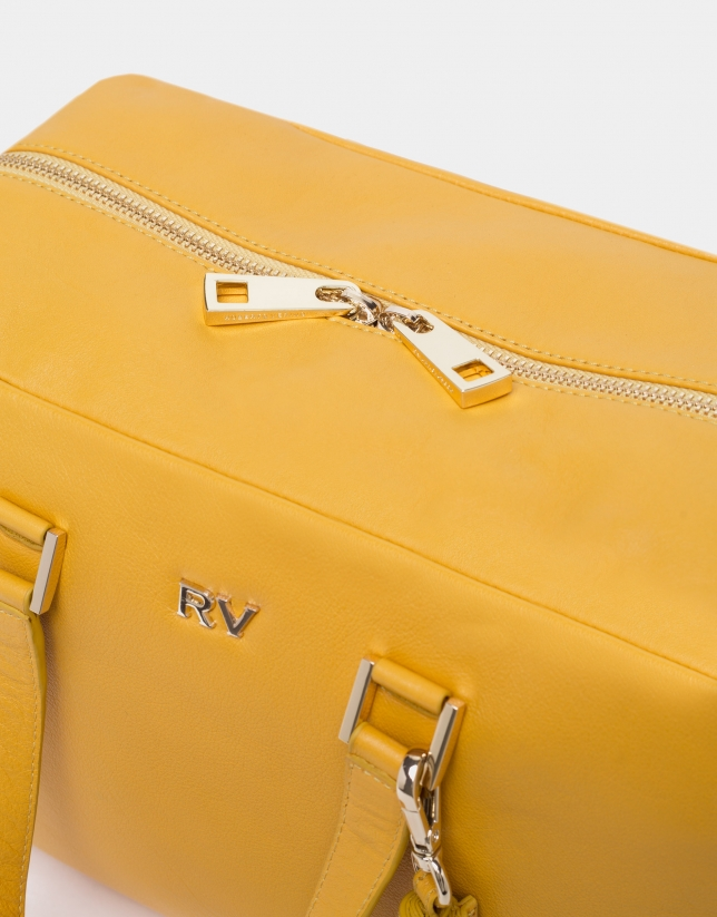 Mustard leather Louvre bowling bag