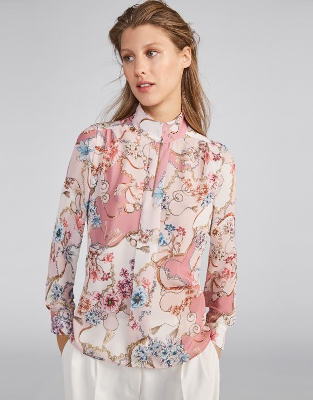 Blusa cuello mao estampado flores rosa