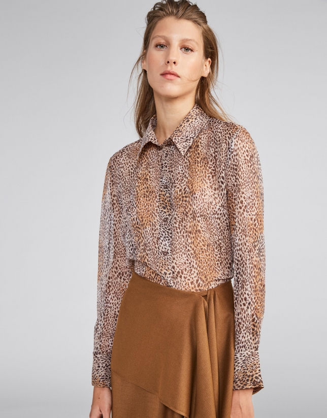 Brown animal print blouse