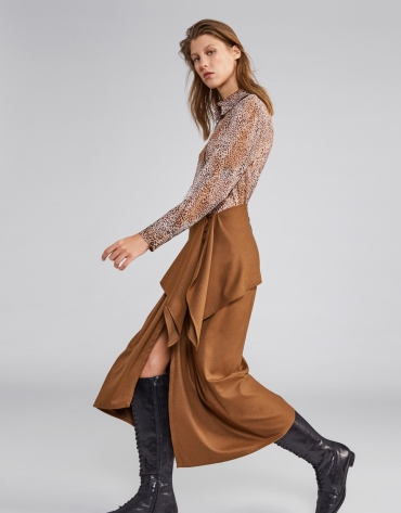 Brown animal print blouse