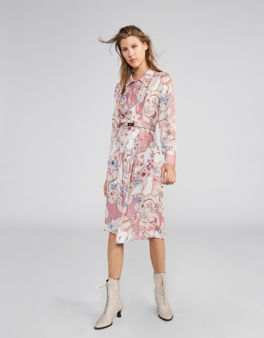 Vestido camisero flores y cadenas tonos rosa