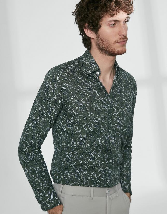 Green paisley print sport shirt