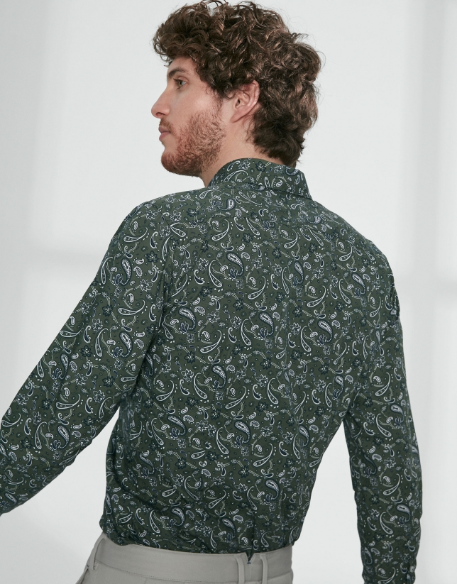 Chemise décontractée verte, imprimé cachemire