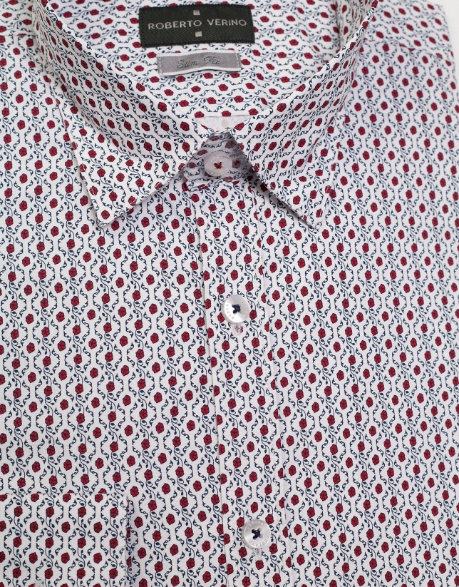 White sport shirt with red flowers