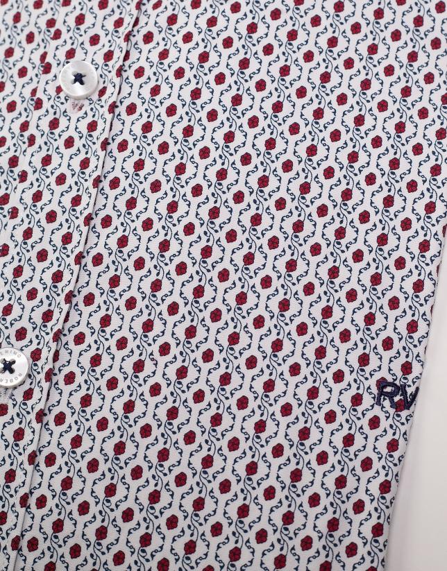 Camisa sport blanca flores rojas