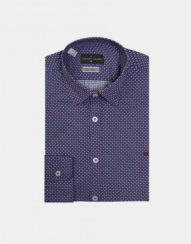 Camisa sport azul estampado geométrico rojos