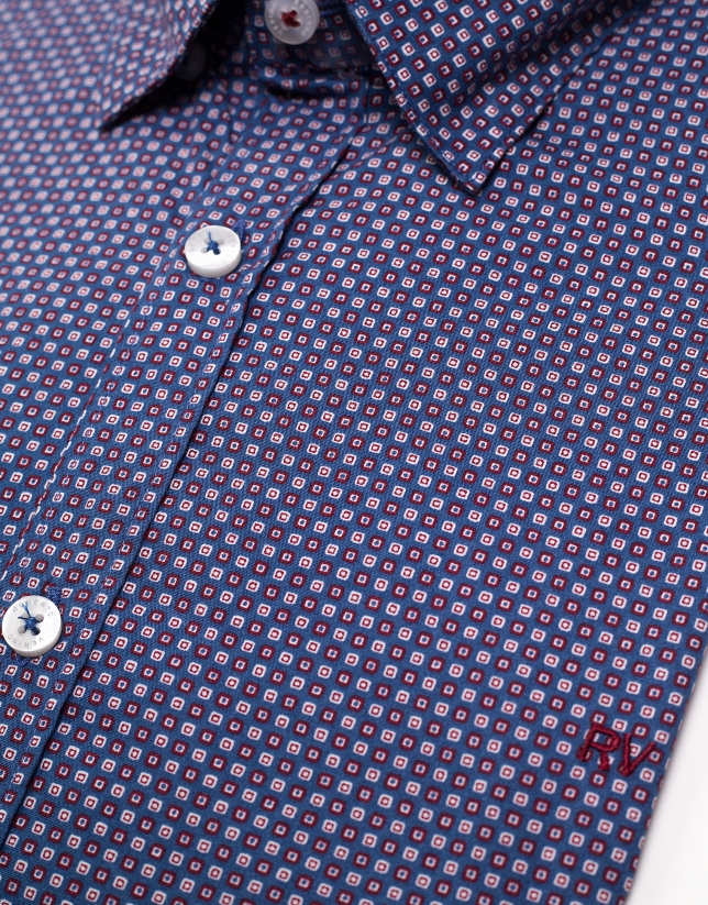 Blue sport shirt with red geometric print