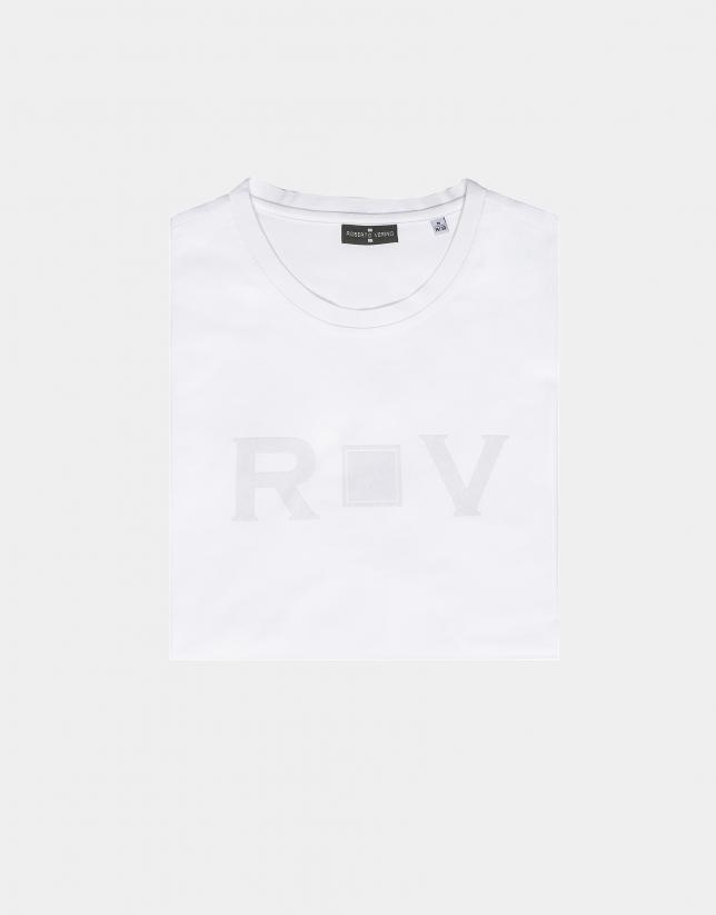 T-shirt en coton blanc à logo RV