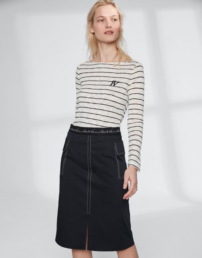 Blue midi-skirt with central slit