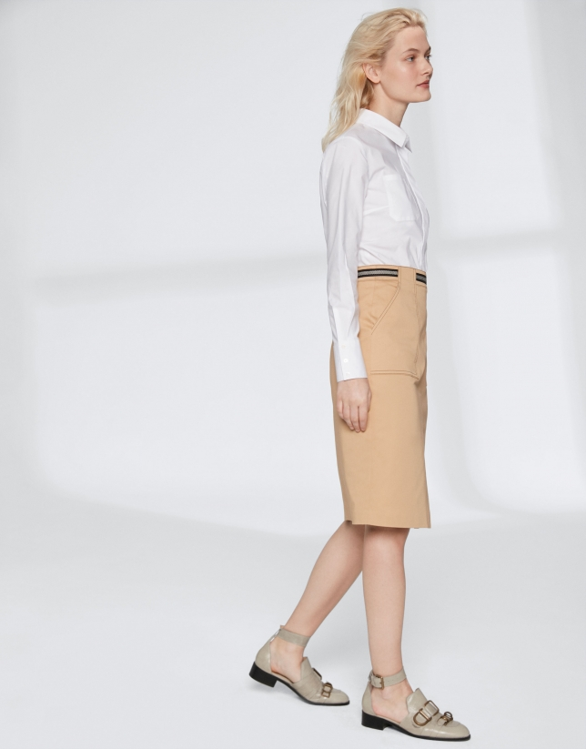 Hazelnut midi-skirt with gross grain at waist