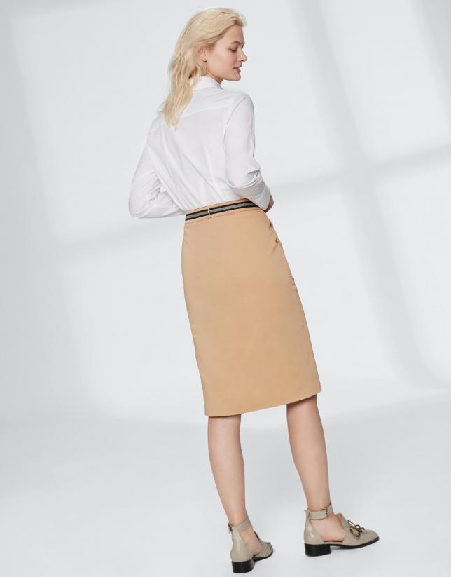 Falda midi avellana con gros grain en cintura