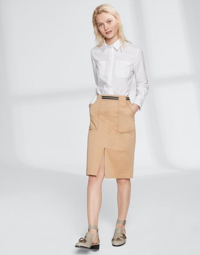 Hazelnut midi-skirt with gross grain at waist