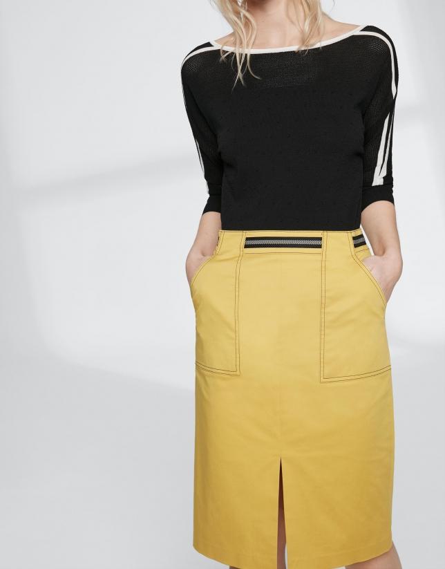 Falda midi amarilla con gros grain en cintura