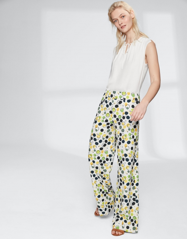 Yellow dotted, straight flowing pants