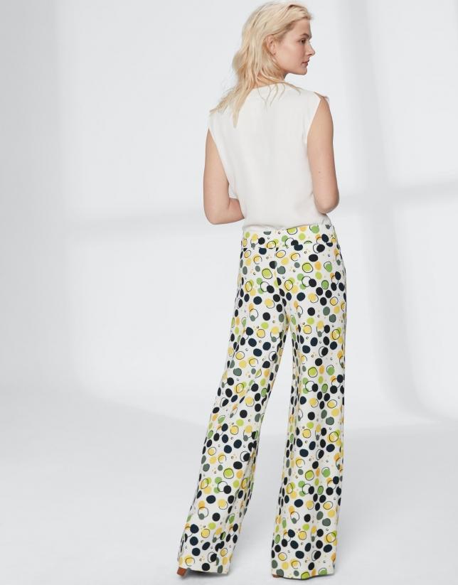Pantalon droit fluide jaune à pois
