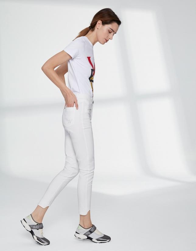 Beige cigarette pants with irregular hem