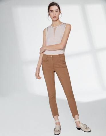 Mink cigarette pants with irregular hem