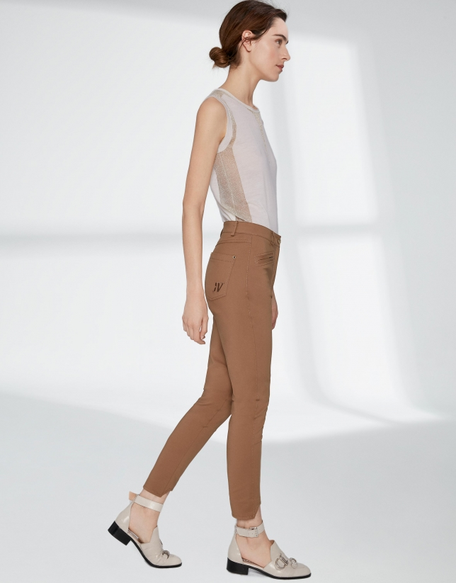 Mink cigarette pants with irregular hem