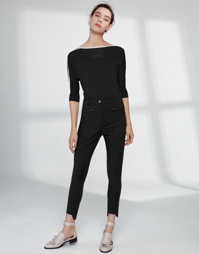 Black cigarette pants with irregular hem