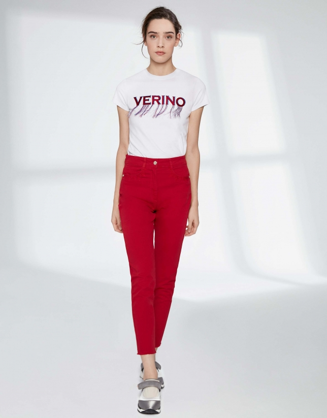 Crimson pants with fringe hem