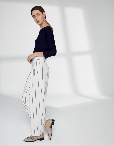 White pinstripe straight pants