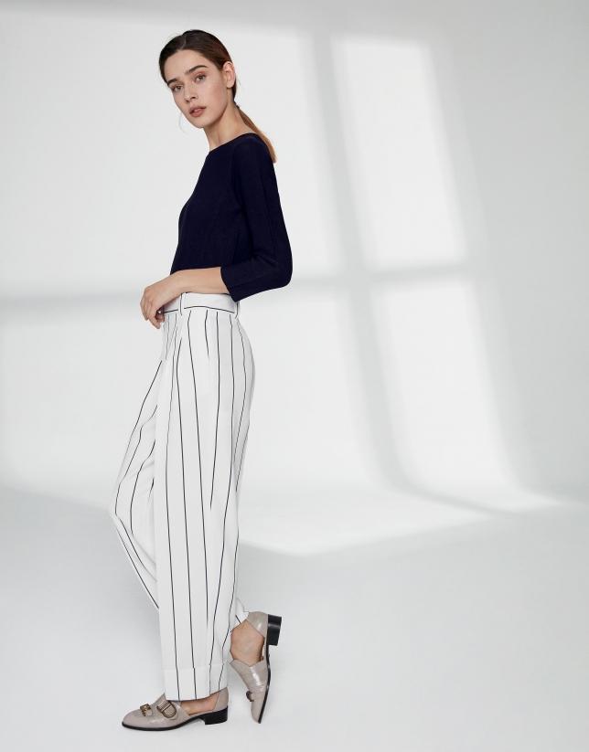 Pantalon blanc coupe droite à rayures diplomatiques