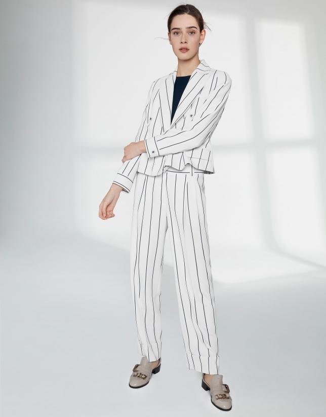 White pinstripe straight pants
