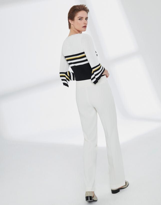 Pantalon droit écru sans poches