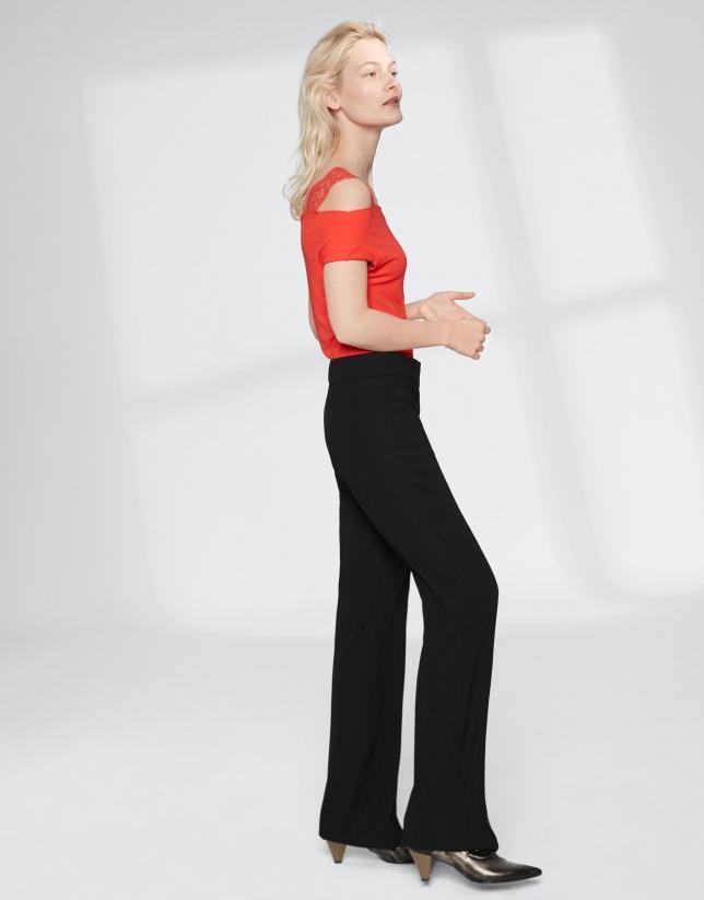Pantalon droit noir sans poches