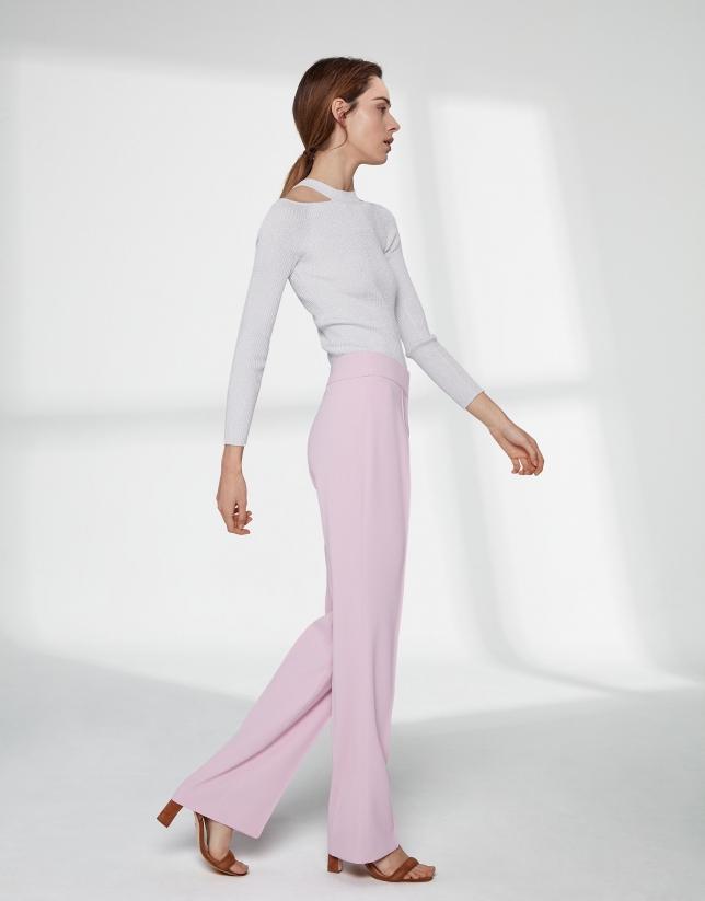 Pantalon droit quartz rose sans poches