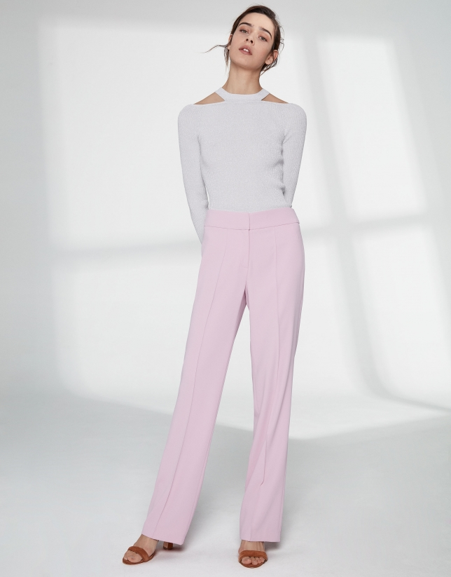 Rose quartz straight pants without pockets