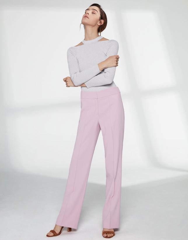 Rose quartz straight pants without pockets