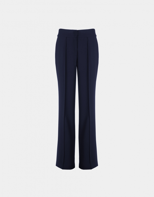 Navy blue straight pants without pockets